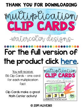 3 Times Table | Multiplication Clip Cards | Watercolor Designs | FREE RESOURCE