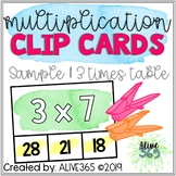 3 Times Table | Multiplication Clip Cards | Watercolor Des
