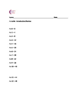 4 Times Table Weekly Classwork, Homework + Assessment with Multiplication Chart