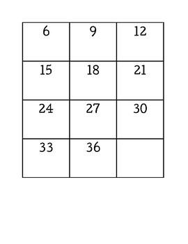 3 Times Table memory Freebie