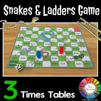 3 Times Tables Snakes and Ladders Game