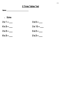 3 Times Tables Test