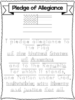 3 Trace the Pledge of Allegiance-Printed, D'Nealian, and C
