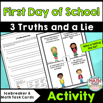 3 Truths and A Lie - Icebreaker and Math Task Cards