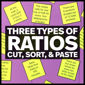 Three Types of Ratios - Cut, Sort and Paste