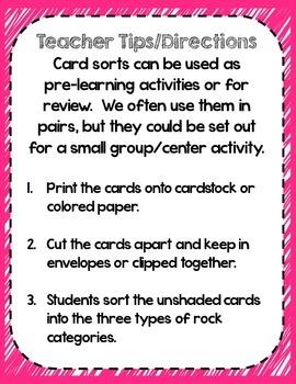 3 Types of Rock Card Sort