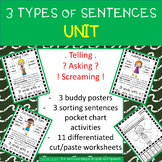 3 Types of Sentences - UNIT:  posters, centers, & practice printables