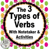 Verbs: BEING, ACTION, & LINKING! with Activities, Notetake