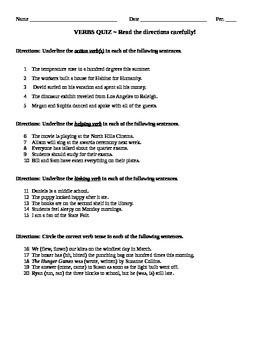 Verbs Quiz - 3 Types of Verbs