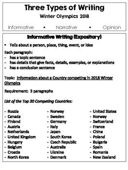 3 Types of Writing ~ 2018 Winter Olympics