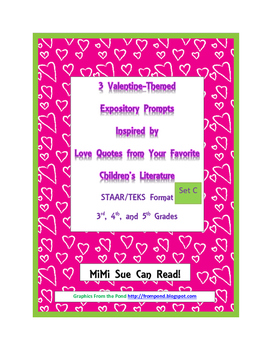 3 Valentine-Themed Expository Prompts Children's Books Set C 3rd 4th 5th Grades