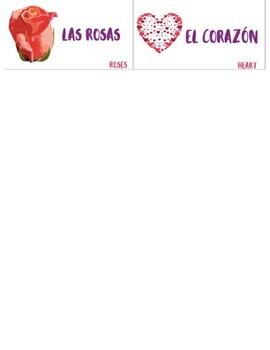 Valentine's Day Flashcards in Spanish