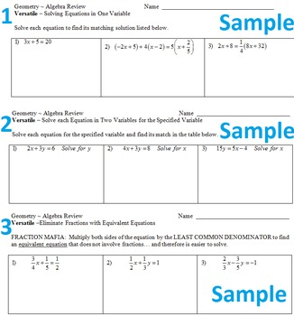 3 Versatile Activities for Solving Equations (Alg 1/Geom)