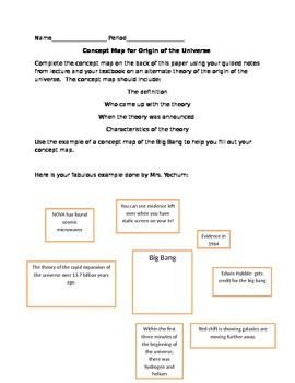 3 Vocabulary Activites for origin of Universe