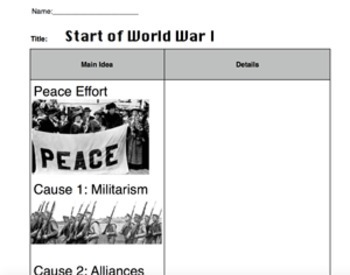 WWI PowerPoint with 2 Column Notes, and Some Worksheets