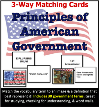 3-Way Matching Vocabulary Cards - Principles of American Government