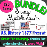 3-Way Matching Vocabulary Cards Bundle! U.S. History 1877-Present + Geography