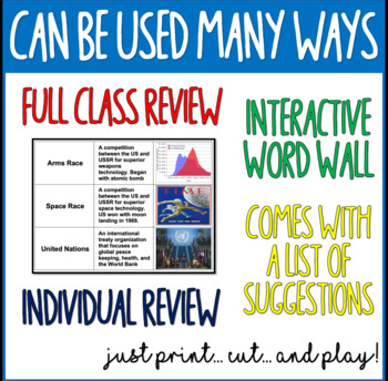 3-Way Matching Vocabulary Cards - The Early Cold War & The 1950's