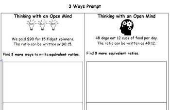 3 Ways Prompt Finding Equivalent Ratios 6.RP.A.3