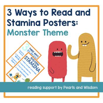 3 Ways to Read and Stamina Posters w/ Bonus Bookmark & Reading Mat