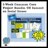 3-Week Project BUNDLE: UN Summit on Social IssuesPersuasive Speech, Paper, & PPT