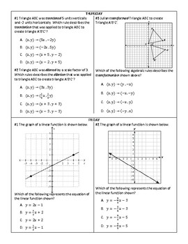 3 Week Warm-Up Spiral: 8th STAAR Math Essential Review #2