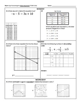 3 Week Warm-Up Spiral: 8th STAAR Math Essential Review