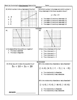3 Week Warm-Up Spiral: Algebra STAAR Essential Review #1