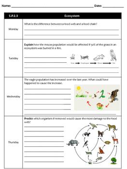 3 Weeks of Ecosystem Homework