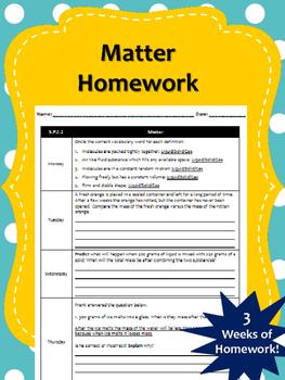 3 Weeks of Matter Homework