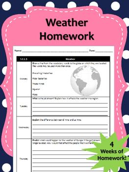 3 Weeks of Weather Homework