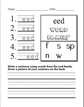 3 Word Family Power Points eed, ell, est