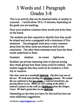 3 Words and 1 Paragraph Practice for Grades 3-8