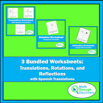 3 Bundled Worksheets:  Translations, Rotations, and Reflections