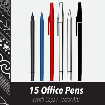 3 Writing Pens (Vector Art) Red, Blue, & Black