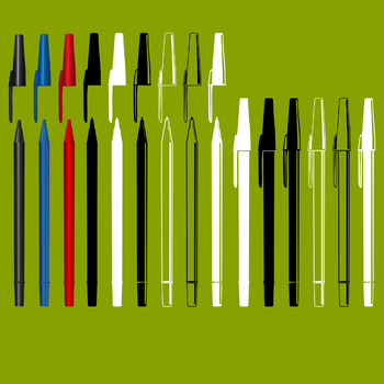 15 Writing Pens (Vector Art) Red, Blue, Black and Line Art Variations