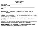 Preschool 3 Year Old Progress Report