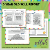 3 Year Old Skill Progress Report