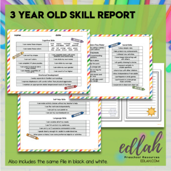 3 Year Old Skill Progress Report - Distance Learning