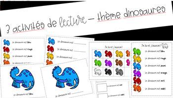 3 activités de lecture – dinosaures // 3 FRENCH reading activities – dinosaurs