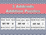 3 addend addition puzzles