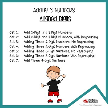 Adding 3 Addends Worksheets Practice Pages