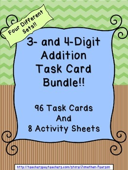 3 and 4 Digit Addition Task Card Bundle - 96 Task Cards with QR Codes
