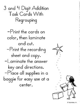 3 and 4 Digit Addition Task Cards With Regrouping