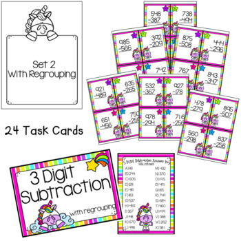 3 and 4-Digit Subtraction Task Cards - Unicorn Theme