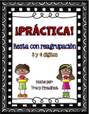 3 and 4 Digit Subtraction with Regrouping (Spanish)