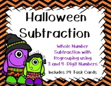 3 and 4 Digit Subtraction with and without Regrouping {Halloween}