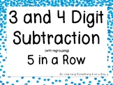3 and 4 Digit Subtraction with regrouping 5 in a Row Game