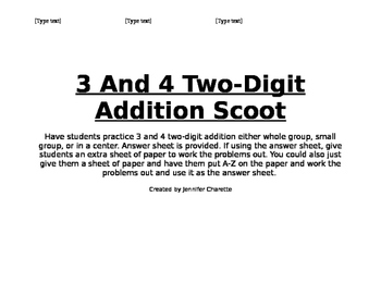 3 and 4 Two-Digit Addition Scoot