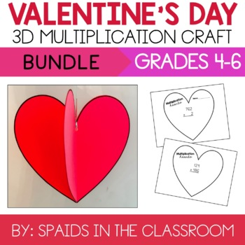 3 by 1, 2 & 3 Digit Multiplication Valentine's Day Heart Craft & Activity